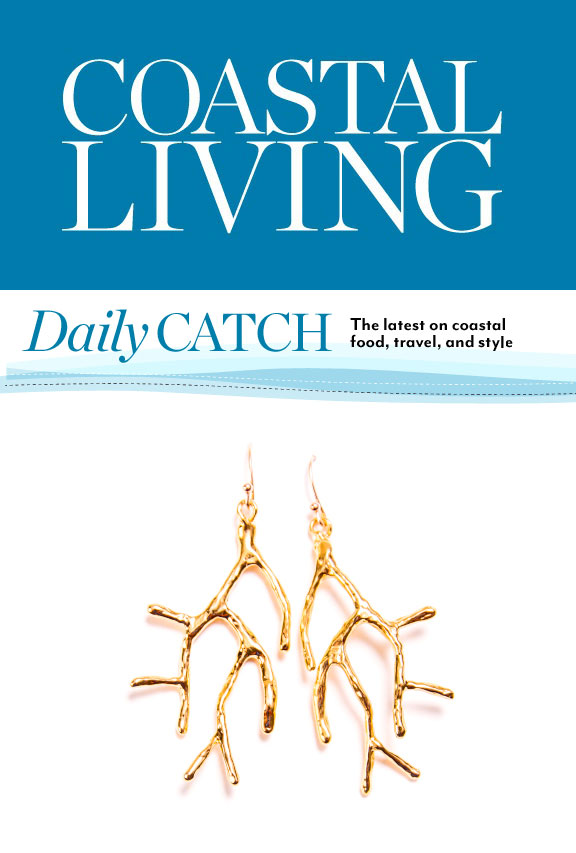 coastal living daily catch christina jervey coral gold earrings