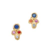 Sapphire-Cluster-14k-Earring